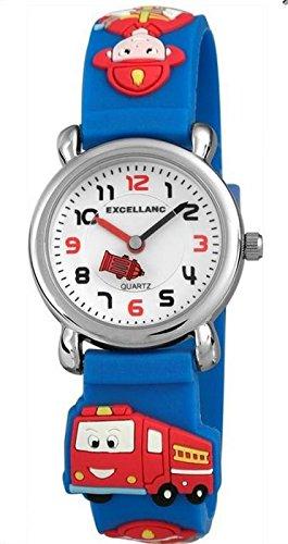 Excellanc Feuerwehr Kinderuhr analoge Silikonband Kids Armbanduhr Lernuhr Blau