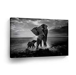 Elephant Decorative Art Canvas Print Modern Wall Decor Artwork Wrapped Wood Stretcher Bars Vertical- Ready to Hang -%100 Handmade in The USA_ELH24_8x12