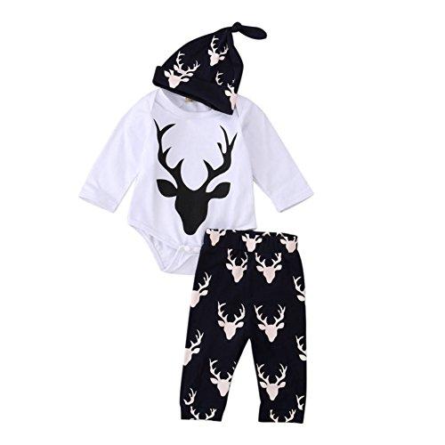 WEICICI 3 Pezzi di Abbigliamento + Pantaloni + Cappello Casa Costume con Cute Fawn per Bambino (6 Mesi - 3 Anni)