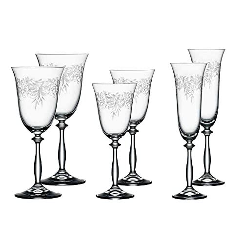 Bohemia Cristal Juego de 6 vasos 'Romance' de cristal | 2 copas de vino tinto, 2 copas de vino blanco, 2 copas de champán, aptos para lavavajillas | adornos elegantes con grabado pantografía
