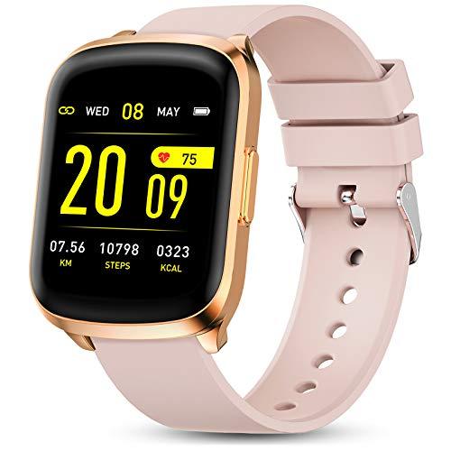 GOKOO Smartwatch Fitness Voller Touchscreen Aktivitätstracker Damen Herren mit Pulsmesser IP68 Wasserdicht Sportuhr Kalorienzähler Schlafmonitor Armbanduhr für Frauen Männer Android IOS