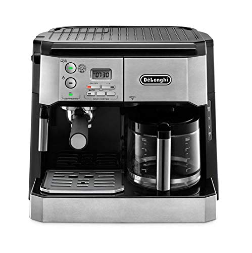 De'Longhi Combi Coffee Machine, Traditional Pump Espresso and Filter Coffee, 1.25 Liter, BCO431.S, Black and Stainless Steel