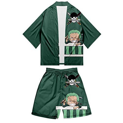 One Piece Kimono + Pantalones Cortos Set Casuales Impresión 3D Camiseta Top y Pantalones Cortos T-Shirt de Manga 3/4 Dos Piezas De Verano Luffy Chopper Zoro Nami Sanji para Amantes del Anime