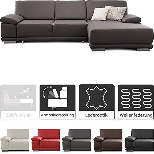 CAVADORE Ecksofa Corianne in Lederoptik / Couch inkl. Armteilverstellung und Longchair in modernem Design / 282 x 80 x 162 / Kunstleder, grau
