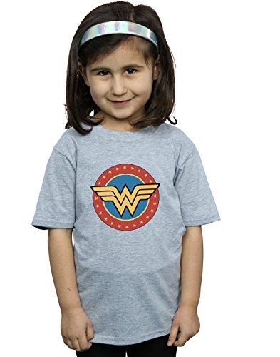 DC Comics Niñas Wonder Woman Circle Logo Camiseta Deporte Gris 7-8 Years