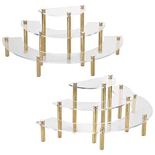 MyGift 3-Tier Clear Acrylic Half Moon Dessert Cupcake Display Stand Rack, Tabletop Jewelry Organizer Riser with Brass-Tone Legs, Set of 2