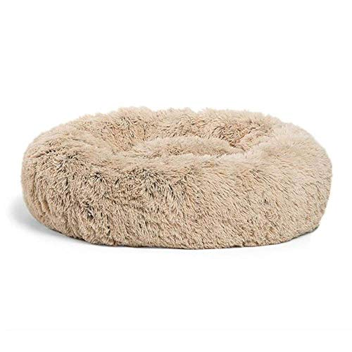 Best Friends by Sheri The Original Calming Donut Cat and Dog Bed in Shag Fur, Small 23'x23' in Taupe, Machine Washable