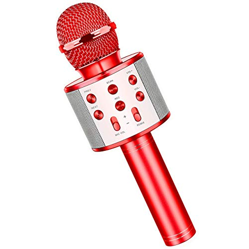 Fun Boys Toys Age 3-12, Wireless Bluetooth Karaoke Microphone for Kids Portable Handheld Mic for Girls Age 5-12 Red