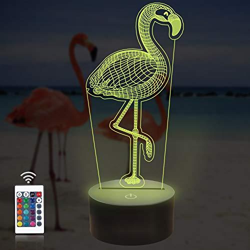 CooPark Flamingo Nachtlicht für Kinder, dimmbare 3d LED lampe Nachttischlampe, 16 Farben wechselnde Berührung & Fernbedienung, Bester Flamingo Spielzeug Geburtstag für Mädchen Jungen kinder