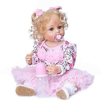 Anano Toddler Vinyl Reborn Baby Girl 22inch Waterproof Reborn Baby Dolls Blue Eyes Silicone Full Body Girl Safety Tested EN71