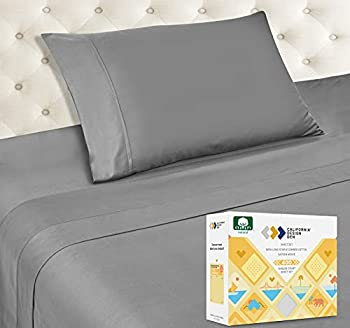 400 Thread Count 100% Cotton Sheet Set Slate Grey Twin-XL Sheets 3 Piece Set Long-Staple Combed Pure Natural Cotton Bedsheets Soft & Silky Sateen Weave by California Design Den