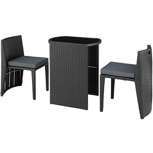 TecTake 800692 Aluminium Polyrattan Bistro Sitzgruppe, platzsparend zusammenschiebbar, wetterfest, inkl. Kissen – Diverse Farben (Schwarz | Nr. 403142)