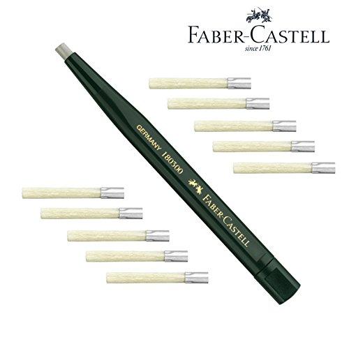 Faber-Castell 180300 - Drehstift mit Glasradierer, Schaftfarbe: grün + 10 Ersatzminen