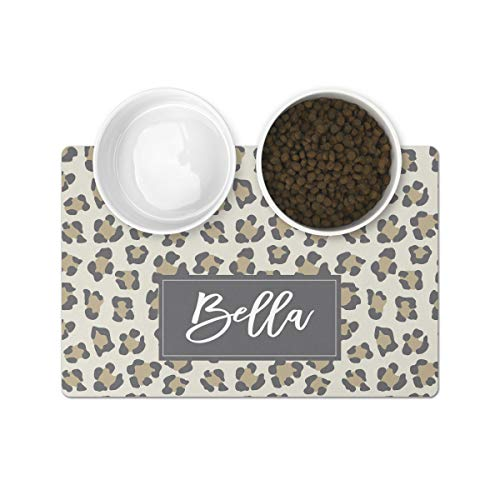 The Navy Knot Personalized Pet Mat - Neoprene, Sturdy & Non-Skid Back - Cats & Dogs Feeding Mat - Petfood, Water & Dish Bowl Pad - Edge Corner Utility Placemat (10x16, Grey Leopard)