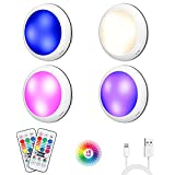 Rechargeable Puck Lights Under Cabinet Lighting with 16 Colors USB Wireless Puck Lights Battery Powered with Dimmer & Timing Function for Kitchen (4 Pack)