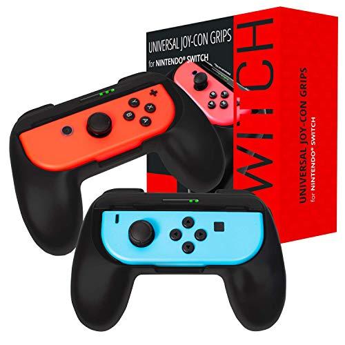 Grip Orzly compatibile con i Joy-Con del Nintendo Switch per un Comfort Extra (CONFEZIONE DOPPIA) - 2 Impugnature Universali NERE per i Joy-Con del Nintendo Switch