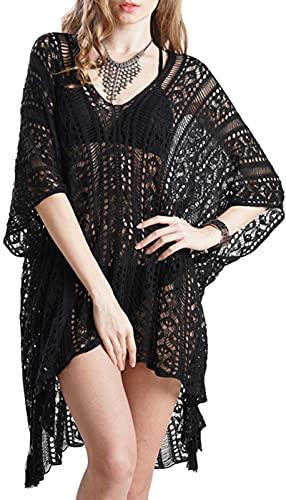 ZusFut Vestiti Mare Donna in Crochet Copricostume Donna Mare Sexy Scollo a V Abito da Spiaggia Casual Vestito Copricostumi Estate da Mare Spiaggia