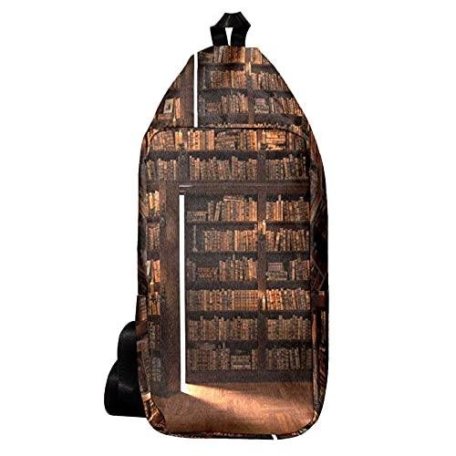 Umhängetasche, Gürteltasche Umhängetasche Geldbörse Satchel Umhängetaschen Rucksack Sling Bag Reisen Wandern Die Geheimtür im Bücherregal für Männer und Frauen