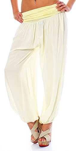 Malito Bombacho Aladin Harem Pantalón Boyfriend Baggy Yoga 1482 Mujer Talla Única (Negro)