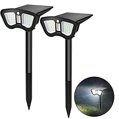 Alitamei Solar Landscape Spotlights 40 LED Wireless IP65 Waterproof Solar Powered Wall Lights Outdoor Landscape Light Motion Activate for Yard Garden Driveway Porch Walkway Pool Patio, White (2 Pack)