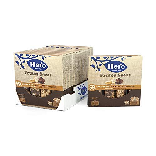 Hero - Barritas de Frutos Secos con Cacahuetes y Chocolate con Leche - 1 Pack de 4 Barritas