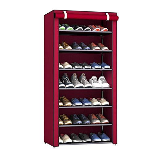 Scarpiera organizer organizer per scarpe – 8 ripiani in robusto tessuto non tessuto Rosso