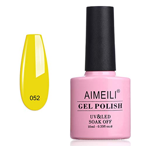 AIMEILI Soak Off UV LED Gel Nail Polish - Neon Canary Translucent Yellow (052) 10ml