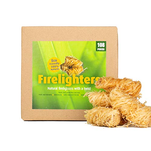 CHENCY 100% Natural Fire Starter, Wood Firelighter, Wood Wool Fuel for Fireplace, Campfire, Wood Stove, Fire Pit, Charcoal Grill, BBQ Smoker (108pcs)