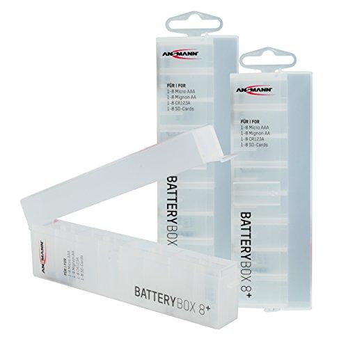 ANSMANN Batteriebox für AAA Micro, AA Mignon Akkus & Batterien, Spezialbatterien & Speicherkarten - Akkubox zum Schutz & Transport für 8 Accus - Batterie Box & Akku Box zur Aufbewahrung - 3 Stück