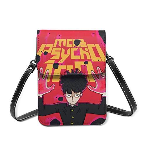 XCNGG Mob Psycho 100 Lightweight Leather Mobile Wallet, Small Messenger Bag, Mini Mobile Phone Bag, Shoulder Bag, Detachable Shoulder Strap, Suitable For Women
