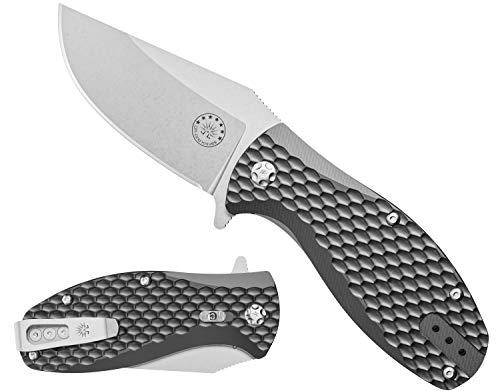 Off-Grid Knives - Badger EDC - D2 Blade Steel, Compact Ball Bearing Flipper Pocket Knife - Grippy & Weatherproof FRN Scales, Safety Grid-Lock, Reversible Tip-Up Deep Pocket Clip (Stonewash)