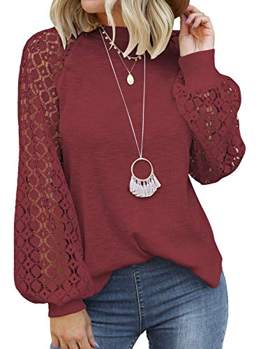 MIHOLL Women's Long Sleeve Tops Lace Casual Loose Blouses T Shirts Red