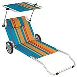 Nexos Gartenliege Sonnenliege Liegestuhl Klappliege mit Rädern und Sonnendach klappbare Liege aus Alu und Polyester – Bespannung bunt –...