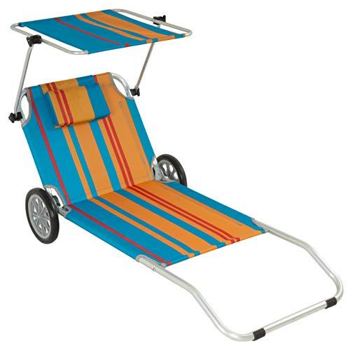 Nexos Gartenliege Sonnenliege Liegestuhl Klappliege Räder und Sonnendach klappbare Liege aus Alu und Polyester Bespannung bunt Trolleyfunktion