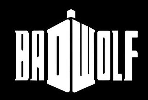 UR Impressions URI093 Calcomanía de vinilo con diseño de lobo malo Doctor Who Tardis para coches, camiones, SUV, furgonetas, paredes, ordenadores portátiles con ventanas, color blanco, 18 x 12 cm