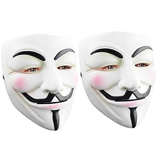 2 Pack Hacker Mask for Halloween Costume - V for Vendetta Mask Anonymous Guy Mask for Adult