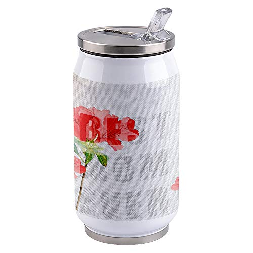 Vacuum Insulated Water Bottle Mother's Day Pink Carnation Best Mom Ever Double Wall Stainless Steel Commuter Water Bottle Leak Proof Wide Mouth Durable Portable Kids Cup, 15oz
