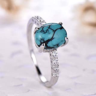 Solitaire Turquoise Engagement Ring Oval Cut Solid 14k White Gold Half Eternity CZ Diamond Wedding Rings Minimalist Bridal Jewelry Set Women Men Anniversary Gift for Her Rose Yellow Gold