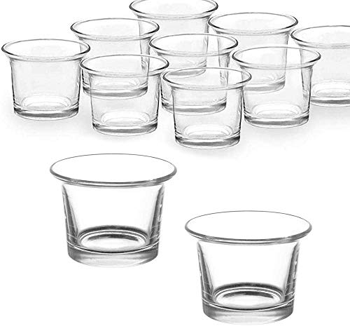Clear Chunky Glass Lip Votive Candle Holders Tealight Votive Cups for Wedding Proposal, Spa, Aromatherapy, Meditation, 6 Counts by Baryuefull