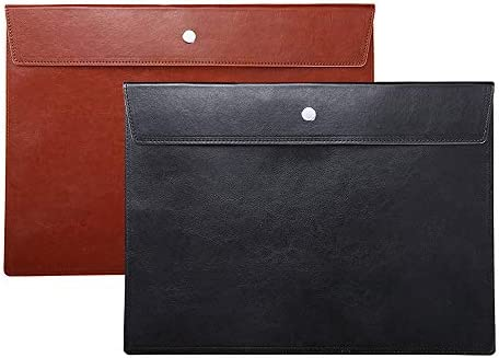 File Folder Pockets File Jacket PU Leather Envelope Flat Document Letter Organizer Cover Portfolio product image
