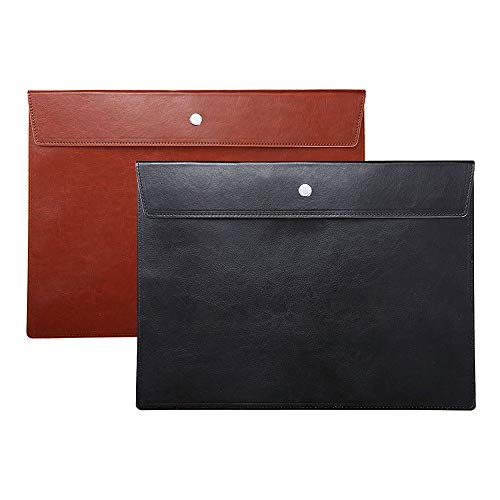 File Folder Pockets File Jacket PU Leather Envelope Flat Document Letter Organizer Cover Portfolio File Pouch Waterproof with Snap Button Closure A4 Letter Size Pack of 2, Black and Brown
