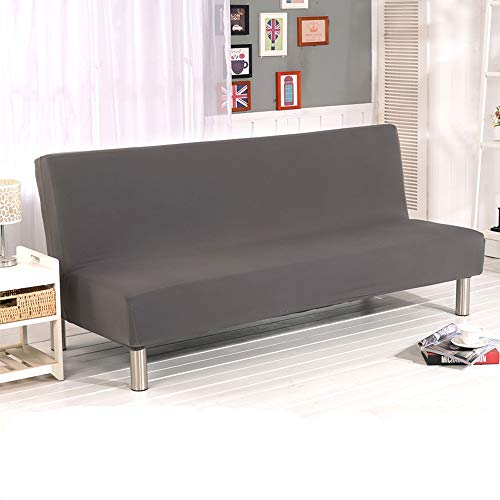 Armless Sofa Slipcover Solid Colour 3 Seater Sofa Bed Covers Modern Stretch Polyester Spandex Futon Slipcover Elastic Protector Folding Couch Sofa Shield Futon Cover (Grey)