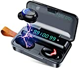 Ruutcasy Bluetooth Wireless Earbuds with Charging Case in-Ear Headphones Pumping Bass Stereo Calls LED Battery Display IPX7 Waterproof CVC8.0 Noise Isolation Built-in Mic Earphones for Sport