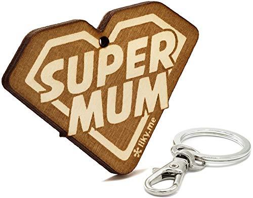LIKY® Super Mum - Llavero Original de Madera Grabado Regalo para día de la Madre cumpleaños joyería Colgante Bolso Mochila