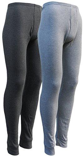 sockenhimmel 2 Lange Thermo- Funktions- Unterhosen für Herren - Sport- und Arbeits-Unterhosen mit Eingriff (7/XL, 1x hellgrau / 1x dunkelgrau)