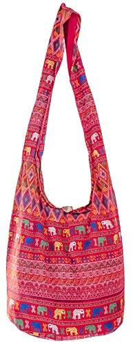 SLING Bag COTTON 40 PRINTs Männer oder Frauen CROSSBODY Tasche LARGE BOHO Hippie Hobo Handtasche (Aztec SD Red)