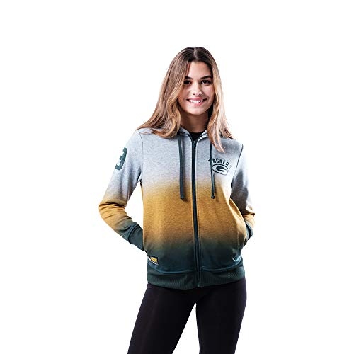 Ultra Game NFL Green Bay Packers Womenss Full Zip Hoodie Sweatshirt Hombre Jacket, Heather Gray, Medium