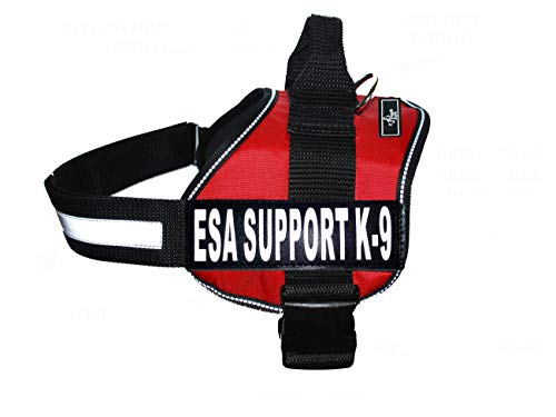 Emotional Support Dog Vest Nylon no-Pull ESA Dog Vest Comes with 2 Reflective ESA Support K9 Interchangeable Patches. Fully Adjustable Reflective Straps with top Handle. XXS-XXL in 3 Colors.