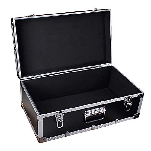 XBSXP Caja de Herramientas de Aluminio Asas portátiles Caja de Viaje pequeña Maletín de Metal Negro Caja de Almacenamiento con Cerradura 2 Candados para Herramientas - 62 * 35 * 25cm