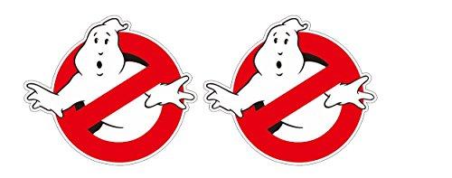 Aufkleber 2x Ghostbusters Ghost Geisterjäger Gespenster übernatürlich Aufkleber Sticker / Plus Schlüsselringanhänger aus Kokosnuss-Schale / Auto Motorrad Laptop Helm Koffer Tuning Racing